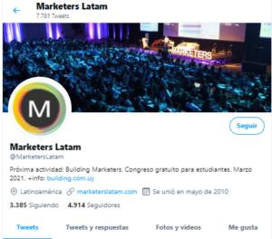 perfil de Twitter de la cuenta @MarketersLatam
